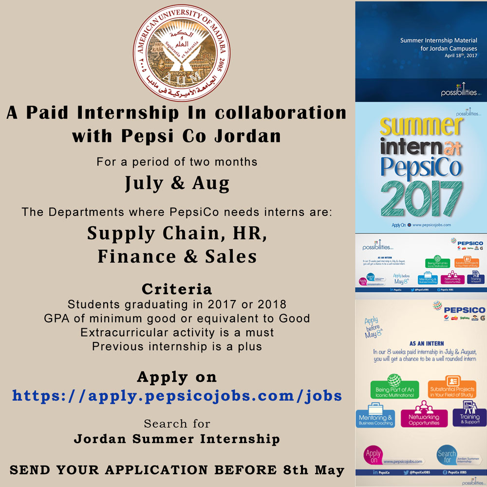 A Paid Internship In collaboration with Pepsi Co Jordan