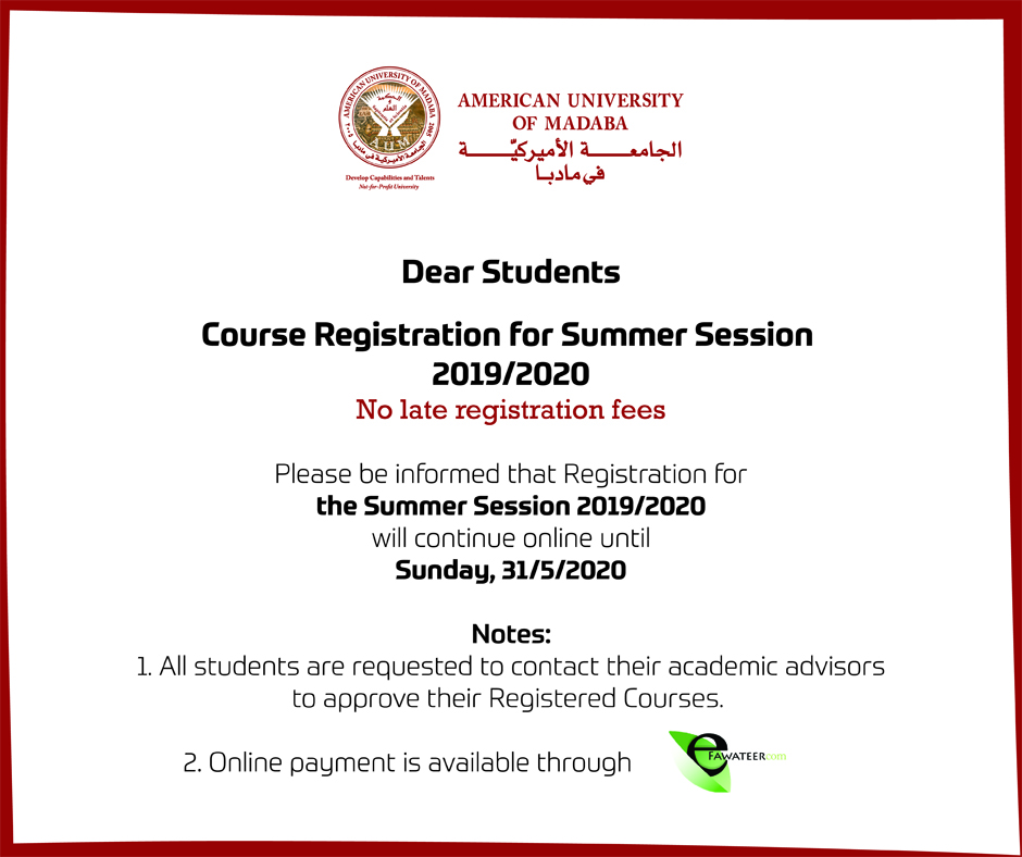 Course Registration for Summer Session 2019/2020