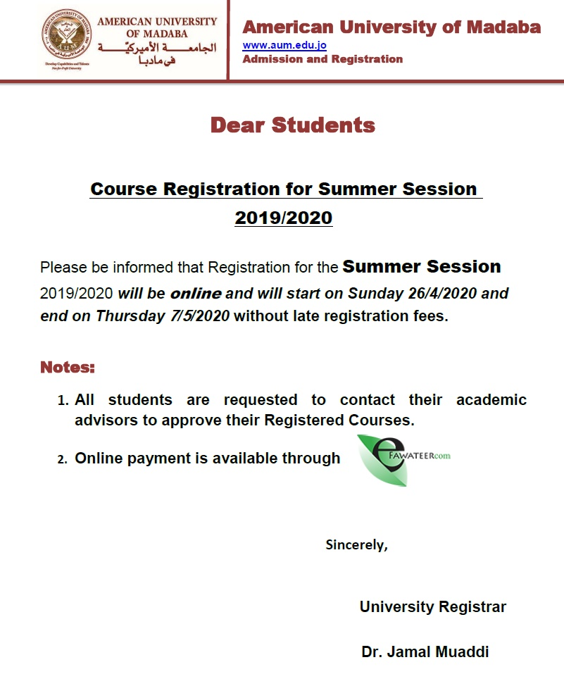 Announcement Course Registration for Summer Session 2019-2020